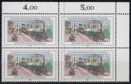 BERLIN  Mi.Nr. 822, 4erBlock Eckrand Rechts Oben, Postfrisch **, 150 Jahre Eisenbahn In Berlin 1988 - Nuovi