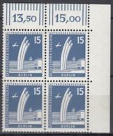 BERLIN  Mi.Nr. 145 X W, 4erBlock Eckrand Oben Rechts, Postfrisch **, Berliner Stadtbilder 1956 - Unused Stamps
