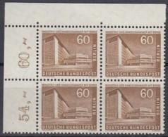 BERLIN  Mi.Nr. 151 W, 4erBlock Eckrand Oben Rechts, Postfrisch **, Berliner Stadtbilder 1956 - Unused Stamps