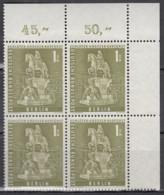 BERLIN  Mi.Nr. 153 W, 4erBlock Eckrand Oben Rechts, Postfrisch **, Berliner Stadtbilder 1956 - Unused Stamps