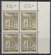 BERLIN  Mi.Nr. 150 W, 4erBlock Eckrand Oben Rechts, Postfrisch **, Berliner Stadtbilder 1956 - Unused Stamps