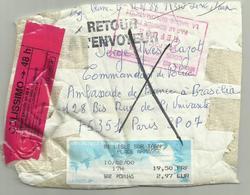 RARE Fragment Colis Lisle Sur Tarn Pour Brasilia Refusé Par Valise Diplomatique 2000 - Marcophilie (Lettres)