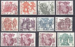 HELVETIA - SUISSE - SVIZZERA - 1977 - Lotto Di 12 Valori Usati: Yvert 1033d, 1034/41, 1037d E1037c + 1037e Uniti. - Usati