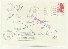Lettre Cambrai Ppal 1989 Retour à L'envoyeur Et Rebuts - Marcophilie (Lettres)