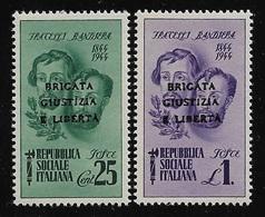 ITALIA-R.S.I.-1945-2 Valori Nuovi Stl Emiss. F.lli Bandiera Soprastampati BRIGATA GIUSTIZIA E LIBERTA'-in Ottime Condiz. - Emissioni Locali/autonome