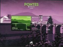 "AZORES/ AÇORES  - EUROPA 2018 -""PUENTES.-BRIDGES -BRÜCKEN -PONTS""-   HOJITA BLOQUE - 2018"