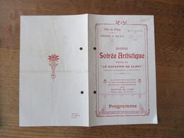 """CLARY LE 16 MAI 1920 GRANDE SOIREE ARTISTIQUE ORGANISEE PAR """"LE SOUVENIR DE CLARY"""" PRODUIT DE LA SOIREE DESTINE A L'EREC - Programme"""