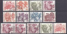 HELVETIA - SUISSE - SVIZZERA - 1977 - Lotto Di 13 Valori Usati: Yvert 1034a 1034/41, 1037c + 1037e Uniti, 1037b E 1036d - Usati