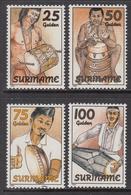 1994 Surinam Traditional Musical Instruments Complete Set Of 4  MNH - Surinam