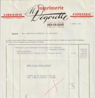 Facture De M  DEGOUTTE IMPRIMERIE_Librairie-Papeterie A BOEN 42 Adressé A Ets LAMOUROUX-GARDETTE A La Monnerie 63 - Printing & Stationeries