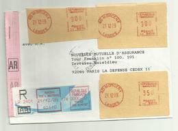 Lettre Recommandée AR Morcenx Pour Paris 1989 - Marcophilie (Lettres)