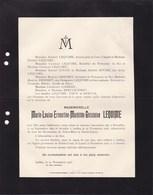 BRUXELLES IXELLES Marie-Louise LEQUIME 1890-1916 Familles ZOUDE LOISEAU Faire-part Mortuaire Généalogie - Décès
