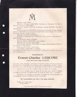 BRUXELLES IXELLES Ernest-Charles  LEQUIME 1837-1918 Familles ZOUDE LOISEAU TIROU Faire-part Mortuaire Généalogie - Décès