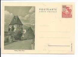 Liechtenstein P 33-01 **  -  10 A. 20 Rp Enzian BiPo Vaduz, Rotes Haus DD : Courvoisier39 S - Ganzsachen