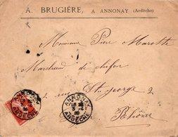 LSC 1909 - Entête  A. BRUGIERE, à ANNONAY  (Ardèche) - Marcophilie (Lettres)