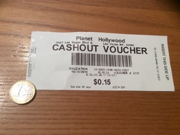 """Ticket De Paiement """"Planet Hollywood (Casino) - CASHOUT VOUCHER"""" Las Vegas USA - Monnaies & Billets"""