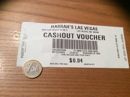 """Ticket De Paiement """"HARRAH'S (Casino) - CASHOUT VOUCHER"""" Las Vegas USA - Coins & Banknotes"""