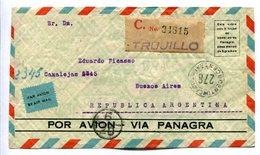 ENVELOPE CIRCULATED FROM TRUJILLO, PERU TO BUENOS AIRES ARGENTINA, 1937. POR AVION VIA PANAGRA, CERTIFICADO -LILHU - Perú