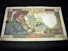 "FRANCE 50 Francs ""Jacques Coeur""  13/06/1941 , Pick N° 93  , FRANCIA ,FRANKREICH - 1871-1952 Antichi Franchi Circolanti Nel XX Secolo"
