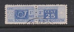Italy Republic PP 66 1946-51 ,Parcel Post,watermark Flying Wheel, 25c Ultra,Used - 6. 1946-.. Republic