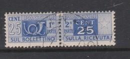 Italy Republic PP 82 1955-79 ,Parcel Post,watermark Stars, 25c Ultra,Used - 6. 1946-.. Republic