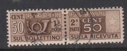 Italy Republic PP 83 1955-79 ,Parcel Post,watermark Stars, 50c Brown,Used - 6. 1946-.. Republic