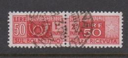 Italy Republic PP 89 1955-79 ,Parcel Post,watermark Stars, Lire 50 Red,Used - 1946-.. République