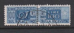 Italy Republic PP 91 1955-79 ,Parcel Post,watermark Stars, Lire 100 Ultra,Used - 6. 1946-.. Republic