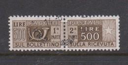 Italy Republic PP 98 1955-79 ,Parcel Post,watermark Stars, Lire 500 Dark Brown,Used - 6. 1946-.. Republic