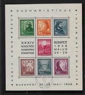 Hungary, 1938, 34th Eucharist Congress, Special Cancel 1938 MAJUS 16 - Blocks & Sheetlets