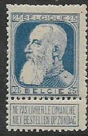 Belgium, 1905, 25c With Tab, MH * - 1905 Thick Beard