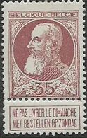 Belgium, 1905, 35c With Tab, MH * - 1905 Thick Beard