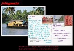 ASIA. INDIA. ENTEROS POSTALES. TARJETA POSTAL CIRCULADA 2018. BANGALORE. INDIA-CIENFUEGOS. CUBA. AVIONES DE GUERRA - India