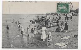 LION SUR MER EN 1923 - N° 16 - LA PLAGE AVEC PERSONNAGES - BEAU CACHET - CPA VOYAGEE - France