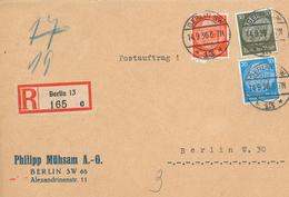 Hindenburg Bunt-Frankatur Berlin SW 1936 Philipp Mühsam Postauftrag R-Brief - Germania