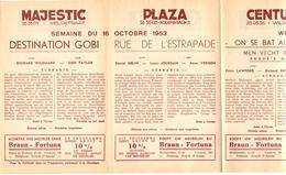 Pub Reclame Ciné Cinema Bioscoop - Programma Majestic Plaza Century Rex - Gent - 16 Oct 1953 - Publicité Cinématographique