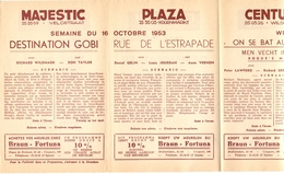 Pub Reclame Ciné Cinema Bioscoop - Programma Majestic Plaza Century Rex - Gent - 16 Oct 1953 - Bioscoopreclame