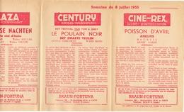 Pub Reclame Ciné Cinema Bioscoop - Programma Majestic Plaza Century Rex - Gent - 8 Juli 1955 - Bioscoopreclame