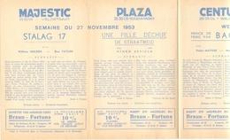 Pub Reclame Ciné Cinema Bioscoop - Programma Majestic Plaza Century Rex - Gent - 27 November 1953 - Publicité Cinématographique