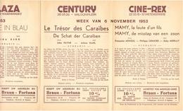 Pub Reclame Ciné Cinema Bioscoop - Programma Majestic Plaza Century Rex - Gent - 6 November 1953 - Publicité Cinématographique