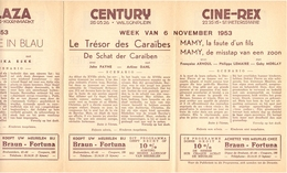 Pub Reclame Ciné Cinema Bioscoop - Programma Majestic Plaza Century Rex - Gent - 6 November 1953 - Bioscoopreclame