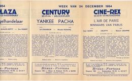 Pub Reclame Ciné Cinema Bioscoop - Programma Majestic Plaza Century Rex - Gent - 24 December 1954 - Publicité Cinématographique