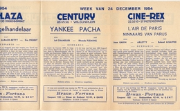 Pub Reclame Ciné Cinema Bioscoop - Programma Majestic Plaza Century Rex - Gent - 24 December 1954 - Bioscoopreclame