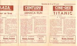 Pub Reclame Ciné Cinema Bioscoop - Programma Majestic Plaza Century Rex - Gent - 6 Aug 1953 - Titanic - Bioscoopreclame