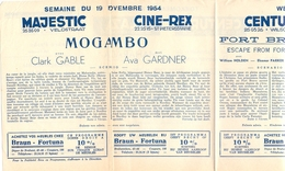 Pub Reclame Ciné Cinema Bioscoop - Programma Majestic Plaza Century Rex - Gent - 19 Nov  1954 - Bioscoopreclame