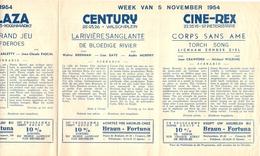 Pub Reclame Ciné Cinema Bioscoop - Programma Majestic Plaza Century Rex - Gent - 5 Nov  1954 - Bioscoopreclame