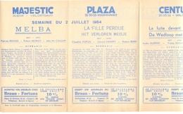 Pub Reclame Ciné Cinema Bioscoop - Programma Majestic Plaza Century Rex - Gent - 2 Juli 1954 - Bioscoopreclame