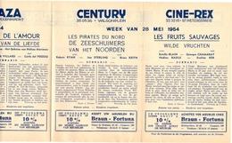 Pub Reclame Ciné Cinema Bioscoop - Programma Majestic Plaza Century Rex - Gent - 28 Mei 1954 - Bioscoopreclame