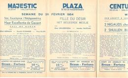 Pub Reclame Ciné Cinema Bioscoop - Programma Majestic Plaza Century Rex - Gent - 26 Februari 1954 - Bioscoopreclame
