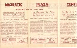 Pub Reclame Ciné Cinema Bioscoop - Programma Majestic Plaza Century Rex - Gent - 18 Juni 1954 - Bioscoopreclame